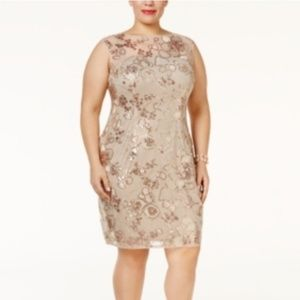 NWT Adrianna Papell Sequined Illusion Dress, 16W